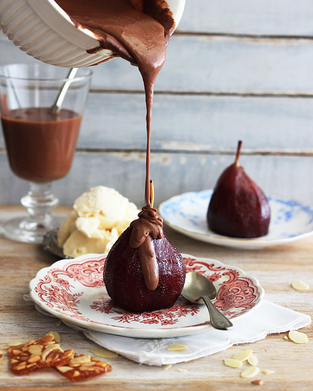 red wine pears with chocolate sauce
