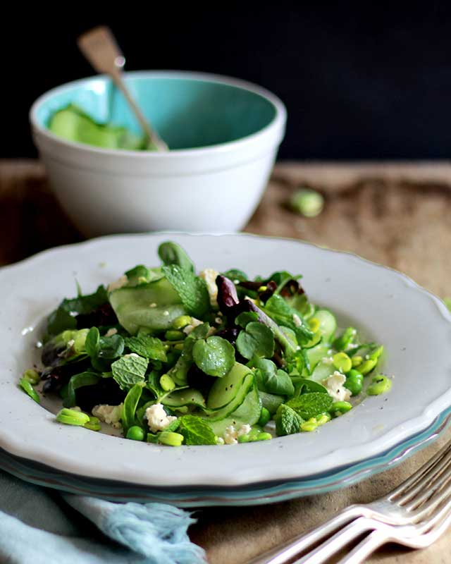 Broad bean pea and mint spring salad